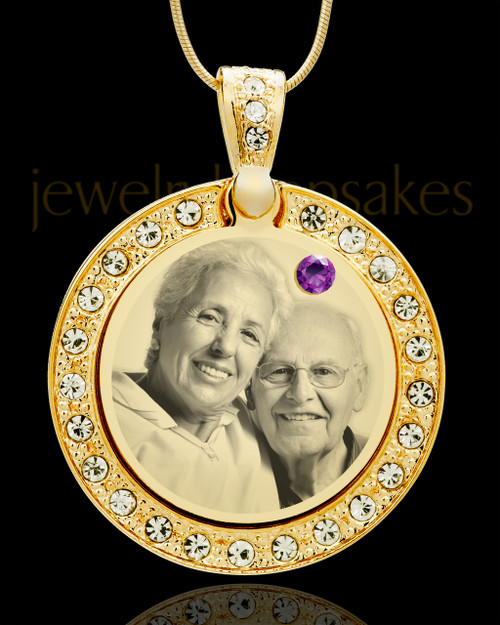 February Gold Gem Circle Birthstone Photo Pendant