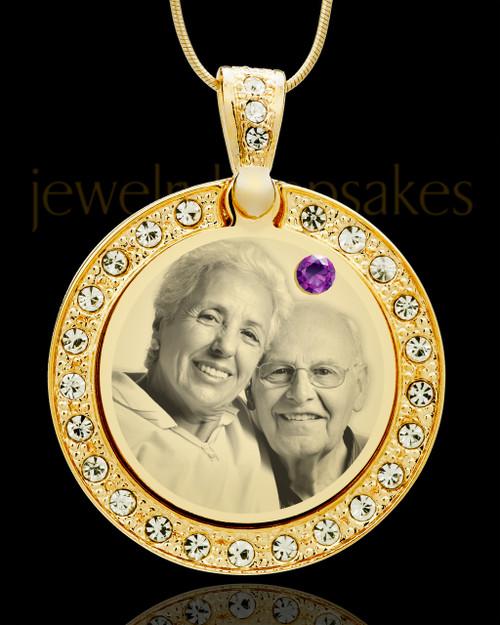 February Gold Gem Circle Birthstone Photo Pendant