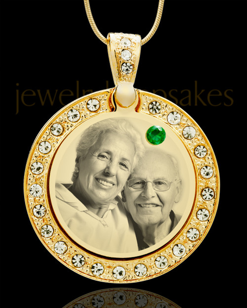 May Gold Gem Circle Birthstone Photo Pendant