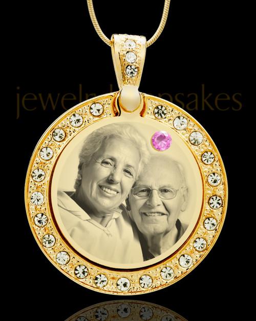June Gold Gem Circle Birthstone Photo Pendant