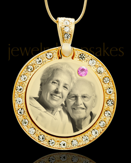 June Gold Gem Circle Birthstone Photo Pendant