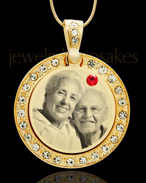 July Gold Gem Circle Birthstone Photo Pendant