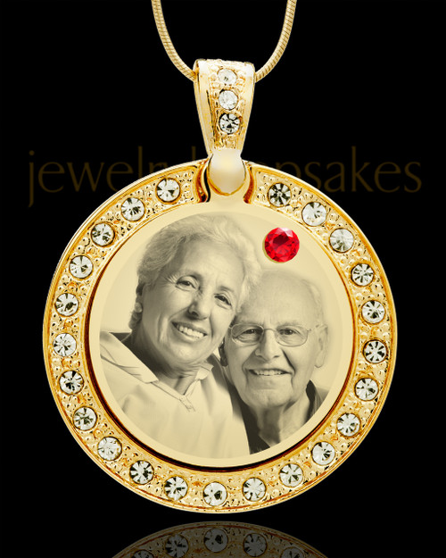 July Gold Gem Circle Birthstone Photo Pendant