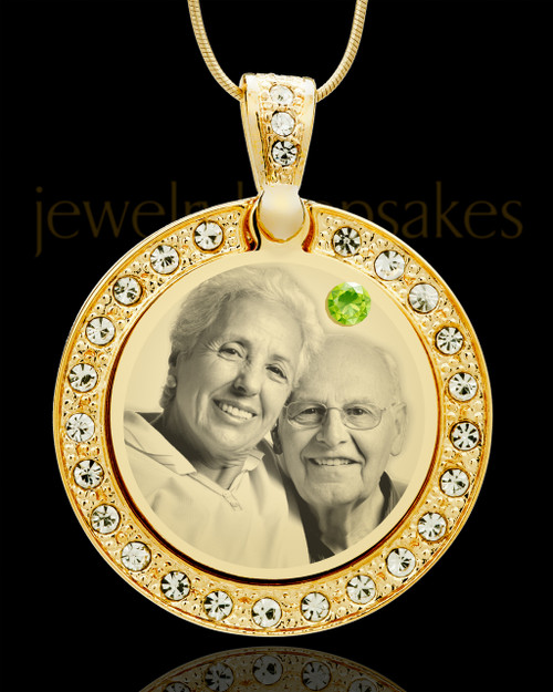 August Gold Gem Circle Birthstone Photo Pendant