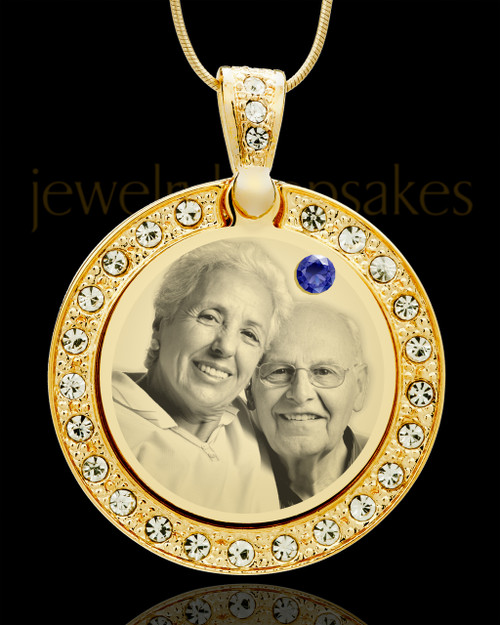 September Gold Gem Circle Birthstone Photo Pendant