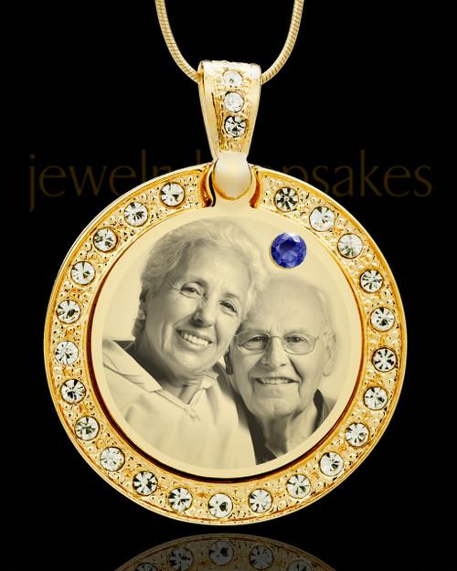 September Gold Gem Circle Birthstone Photo Pendant