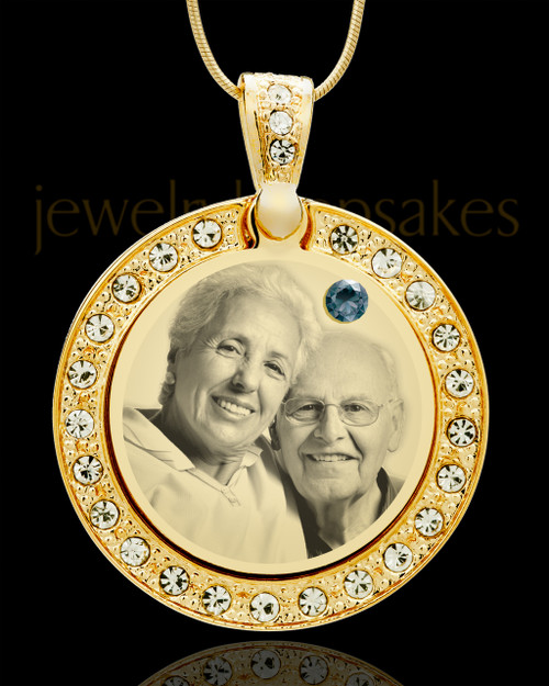 December Gold Gem Circle Birthstone Photo Pendant