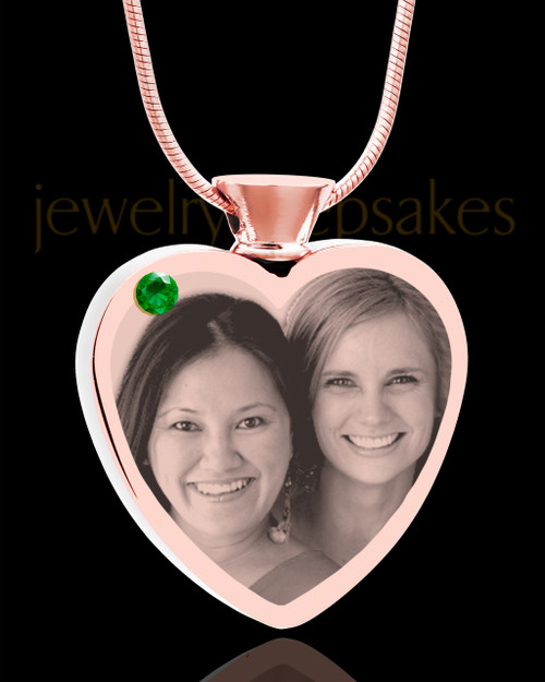 May Rose Gold Plated Heart Photo Engraved Cremation Pendant