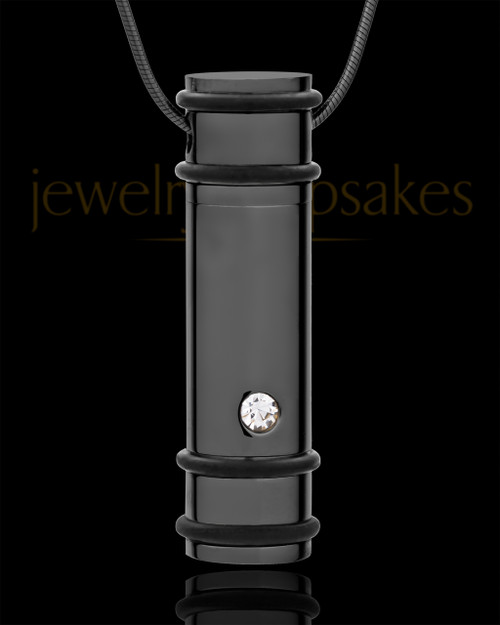 Cremation Locket Black Plated Determination Cylinder