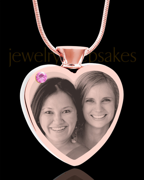 June Rose Gold Plated Heart Photo Engraved Cremation Pendant