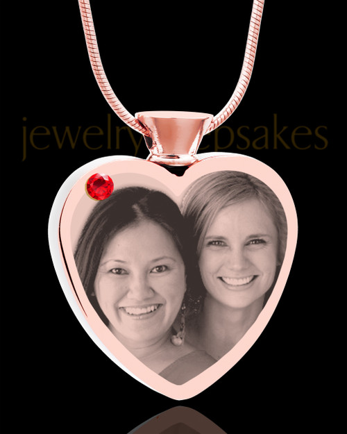 July Rose Gold Plated Heart Photo Engraved Cremation Pendant