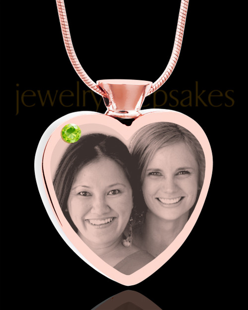 August Rose Gold Plated Heart Photo Engraved Cremation Pendant