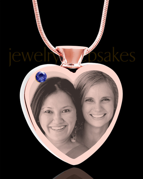 September Rose Gold Plated Heart Photo Engraved Cremation Pendant