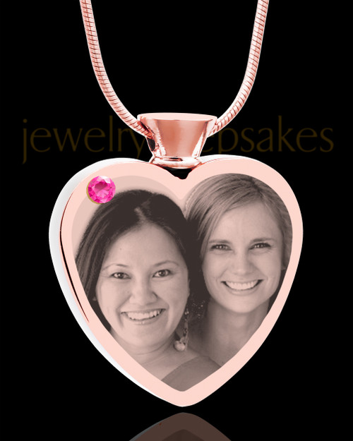 October Rose Gold Plated Heart Photo Engraved Cremation Pendant