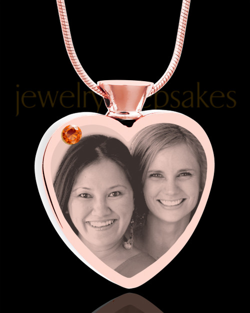 November Rose Gold Plated Heart Photo Engraved Cremation Pendant