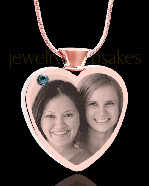 December Rose Gold Plated Heart Photo Engraved Cremation Pendant