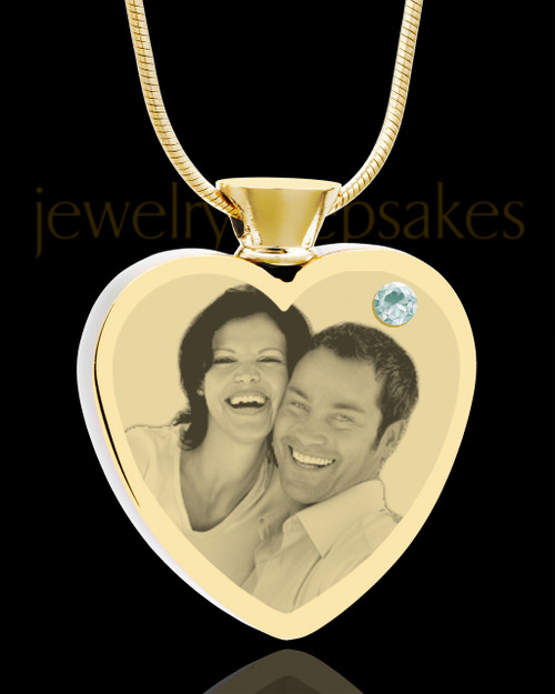 April Gold Plated Photo Engraved Heart Cremation Pendant