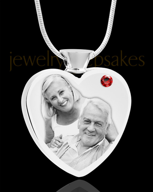 January Stainless Steel Photo Engraved Heart Cremation Pendant