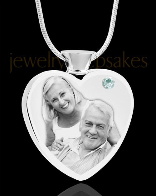 April Stainless Steel Photo Engraved Heart Cremation Pendant