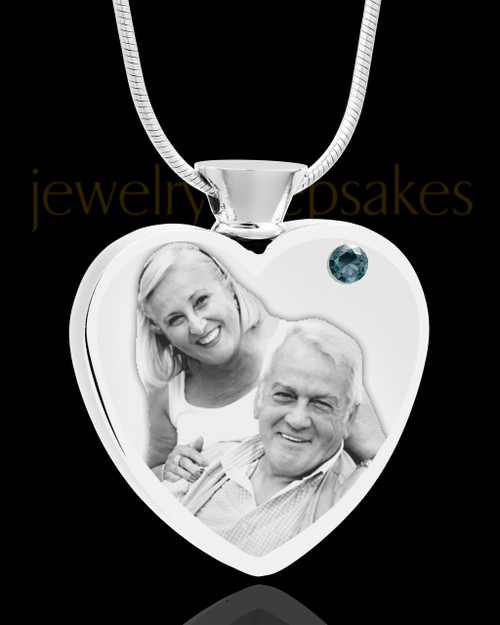 December Stainless Steel Photo Engraved Heart Cremation Pendant
