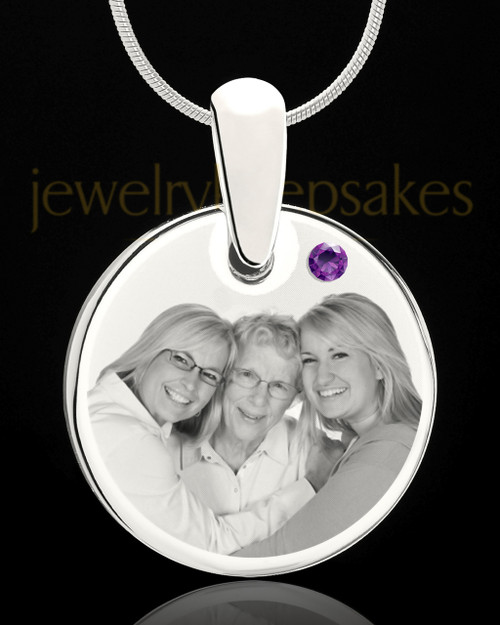 February Round Birthstone Stainless Steel Photo Pendant