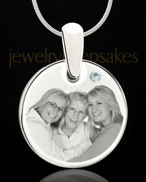 April Round Birthstone Stainless Steel Photo Pendant