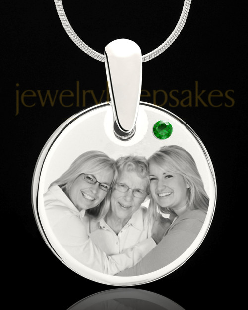 May Round Birthstone Stainless Steel Photo Pendant