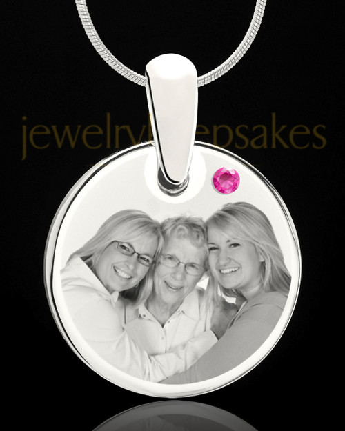 October Round Birthstone Stainless Steel Photo Pendant
