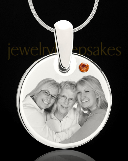 November Round Birthstone Stainless Steel Photo Pendant