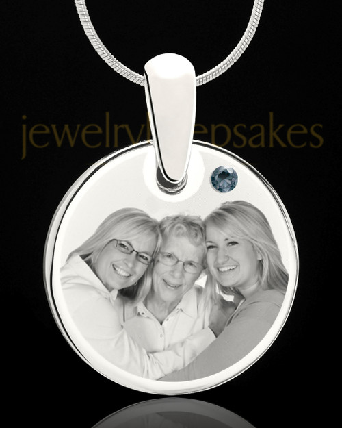 December Round Birthstone Stainless Steel Photo Pendant