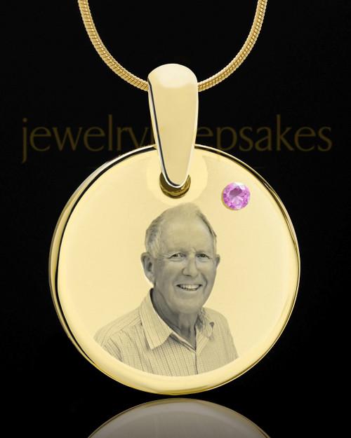 June Birthstone Gold Photo Round Pendant