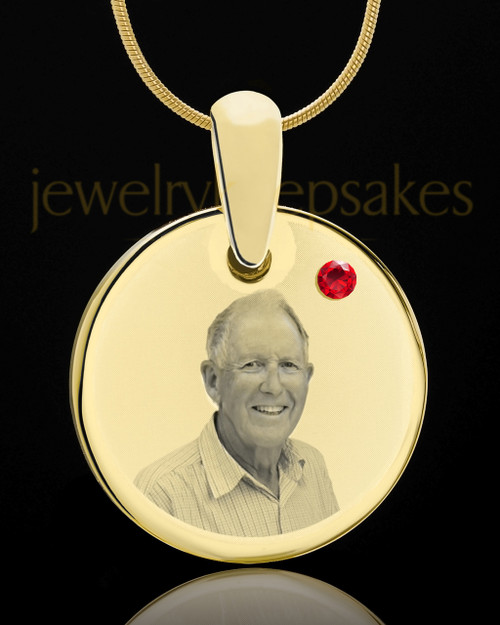July Birthstone Gold Photo Round Pendant