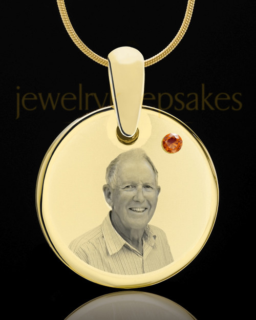 November Birthstone Gold Photo Round Pendant
