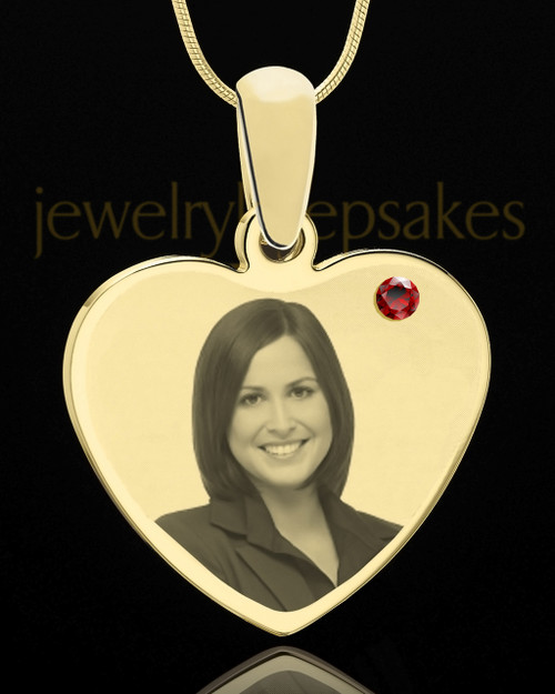 January Gold Heart Photo Engraved Pendant