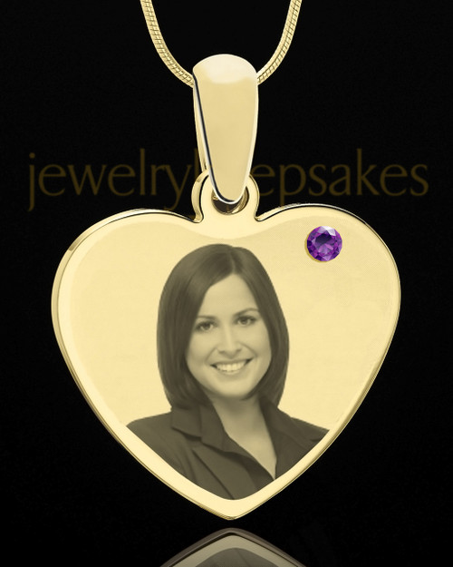 February Gold Heart Photo Engraved Pendant
