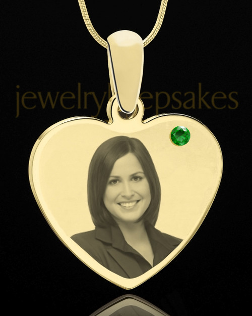 May Gold Heart Photo Engraved Pendant