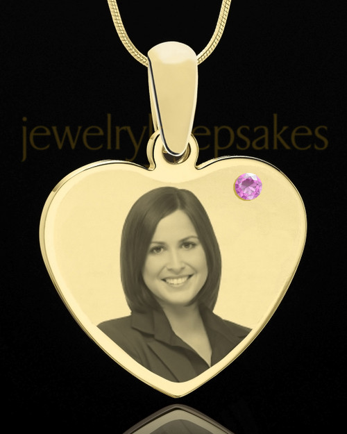 June Gold Heart Photo Engraved Pendant