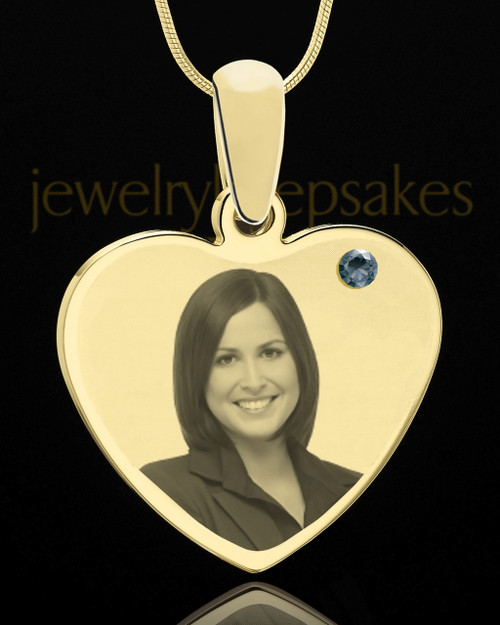 December Gold Heart Photo Engraved Pendant