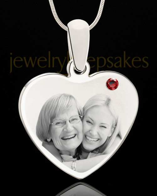 January Stainless Steel Memories Heart Photo Pendant