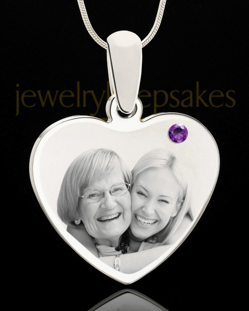 February Stainless Steel Memories Heart Photo Pendant