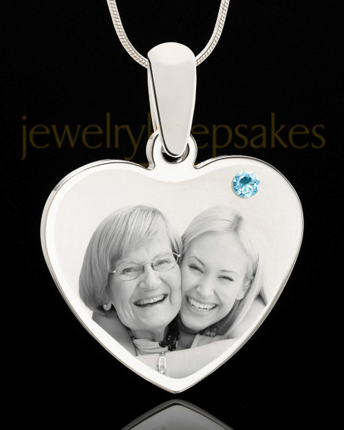 March Stainless Steel Memories Heart Photo Pendant