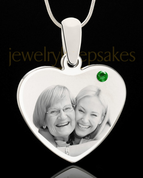 May Stainless Steel Memories Heart Photo Pendant