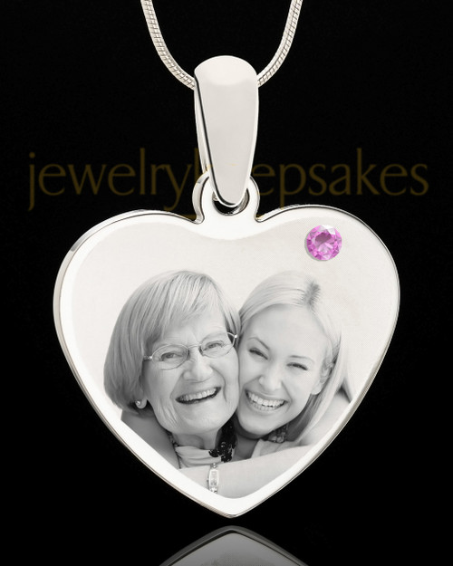 June Stainless Steel Memories Heart Photo Pendant
