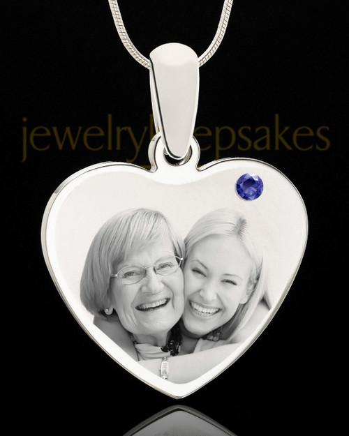 September Stainless Steel Memories Heart Photo Pendant