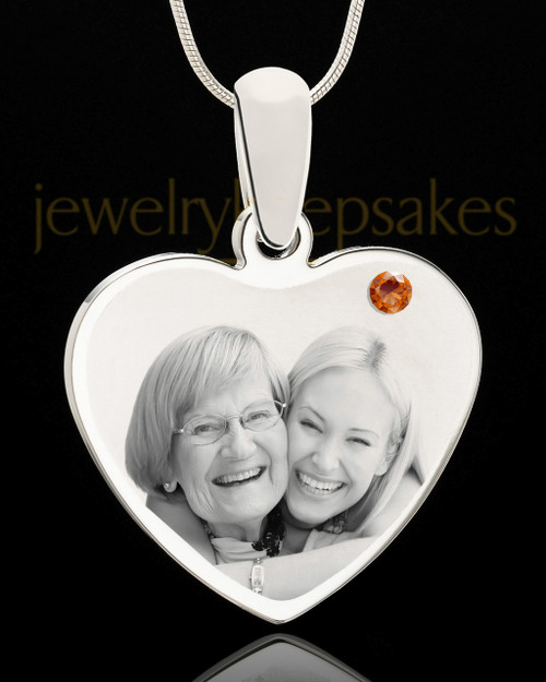 November Stainless Steel Memories Heart Photo Pendant