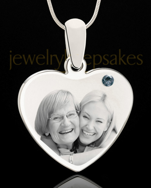 December Stainless Steel Memories Heart Photo Pendant