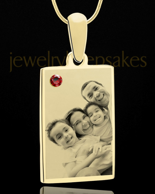 January Rectangle Gold Plated Photo Engraved Pendant