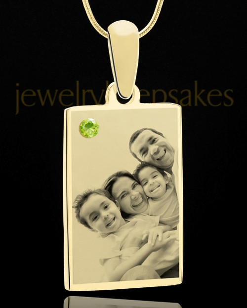 August Rectangle Gold Plated Photo Engraved Pendant