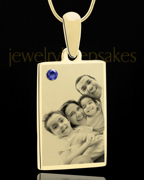 September Rectangle Gold Plated Photo Engraved Pendant