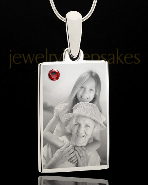 Photo Engraved January Birthstone Rectangle Pendant